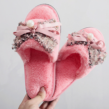 Butterfly-knot Women Winter Home Slippers with fur Indoor Shoes Soft Plush Warm Fur Slipper Woman Cotton Shoe Big Size недорого