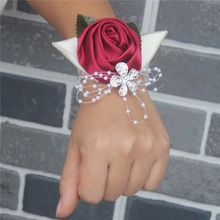 6piece/lot Winered Wrist Corsages & Boutonniere Pearls Diamond Leaf Flowers Wedding Items Party Use with Elastic band SW0677Y