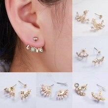 цены Fashion Elegant Female Gold Crystal Stud Earrings For Women Shiny Rhinestone Stud Earrings Trendy Jewelry Accessories Hot Sale