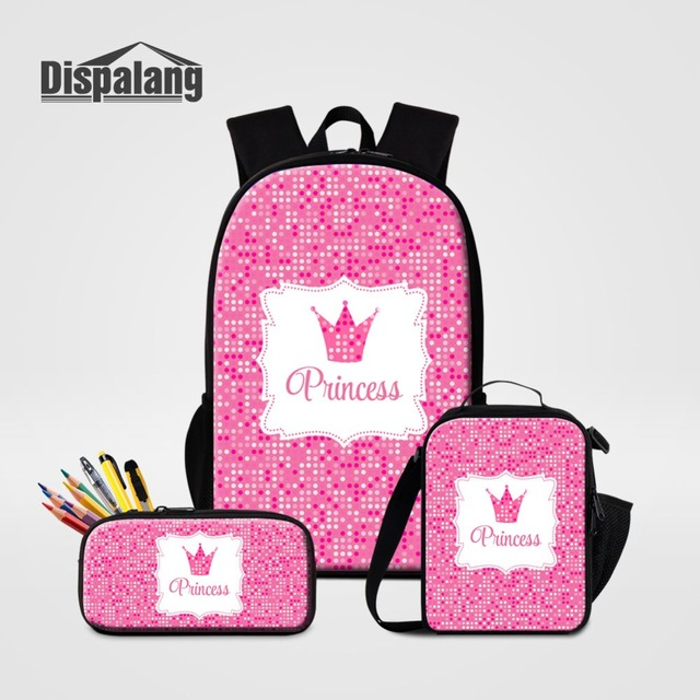 d4afa57a072608 Dispalang 3 Pcs set Pink School Backpack Lunch Box Pencil Box Princess  Crown Prints School Bags for Girls Shoulder Bag Sac A Dos