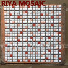 Free Shipping RIYA 12mm Red white ceramic mosaic small grain background wall bathroom kitchen pool swimming 11pcs/lot