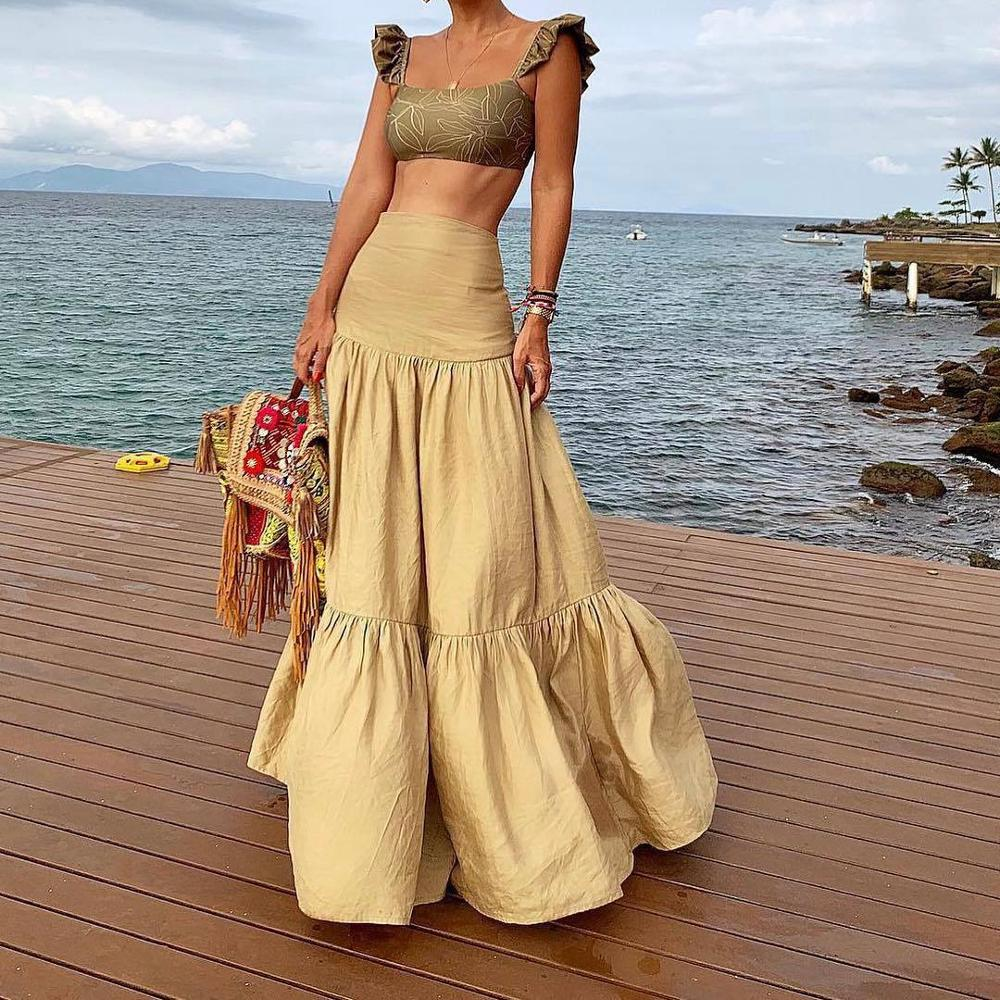 Plus Size Long Skirt Elegant Style Women Pleated Maxi Khaki Skirts 2019 Beach Boho Summer Skirts Faldas Saia Jupe Femme 0515-58
