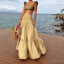 Plus Size Long Skirt Elegant Style Women Pleated Maxi Khaki Skirts