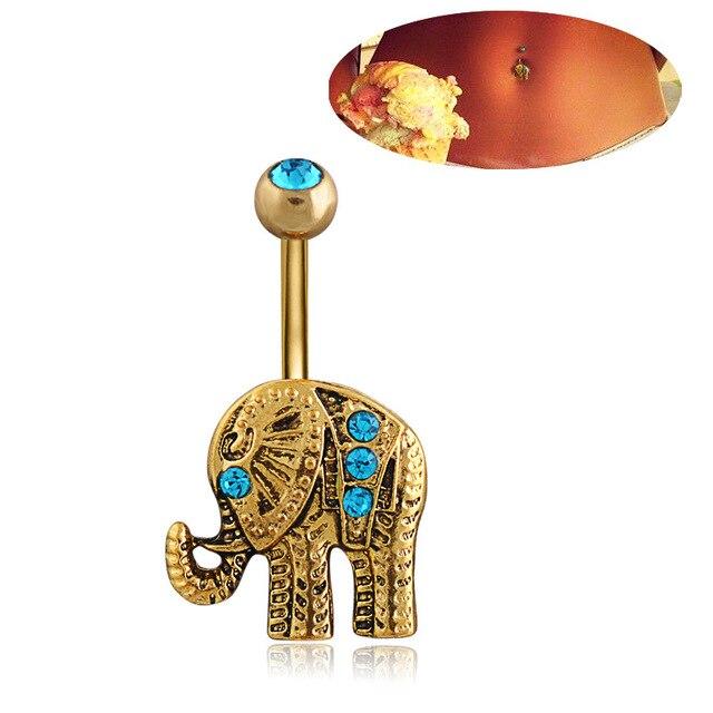 1 шт Модные кольца для пупка из хирургической стали с золотым
