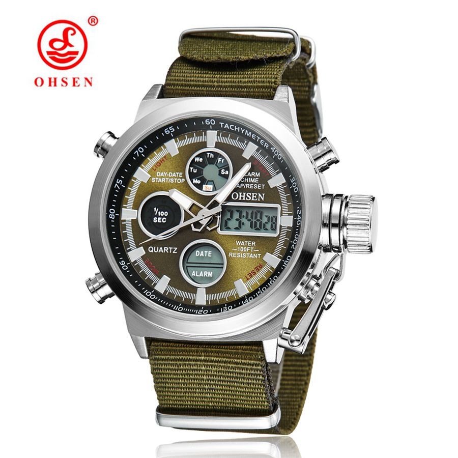 OHSEN Men Sports Watches Waterproof Fashion Casual Quartz Watch Digital & Analog Military Multifunctional Men's Sports Watches new ohsen analog digital watch men military alarm stopwatch rubber strap man quartz wrist watch kids sports watch hombre relogio