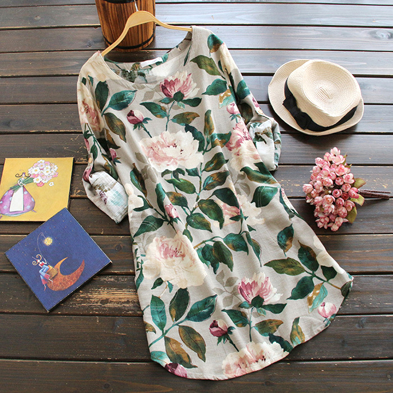 YSMILE Y New Arrived Women Flowers Print Blusas O Neck. Long Plus Size Loose Full Sleeve Shirts Cotton Linen Fabric Shirts YK000