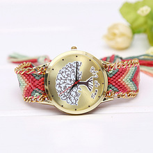 DIY Tree of Life Multicolor Fabric Weaven Band Women's Quartz Wristwatch Folk-Custom Women's Bracelet Watch Handmade Reloj Mujer