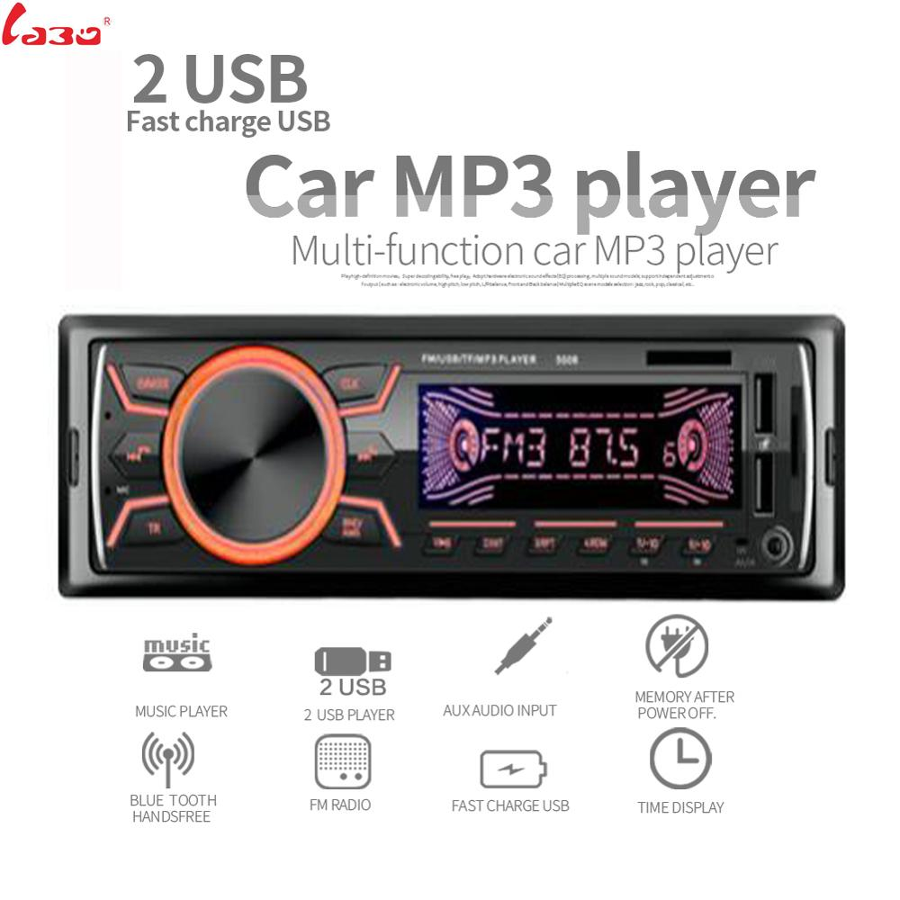 LaBo 1 Din Car Radio Bluetooth Autoradio Dual USB ,Fast charge USB Stereo Audio MP3 ID3 WMA AUX-IN TF A2DP Handsfree ISO image