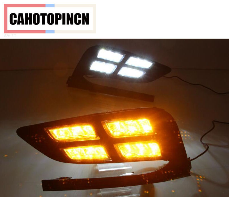 Yellow Signal Style Relay Waterproof Car DRL 12V LED Daytime Running Light Auto Bulb Daylight For
