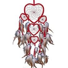 1 шт сердце Ловец снов коричневый красный настенный орнамент из бисера Украшение