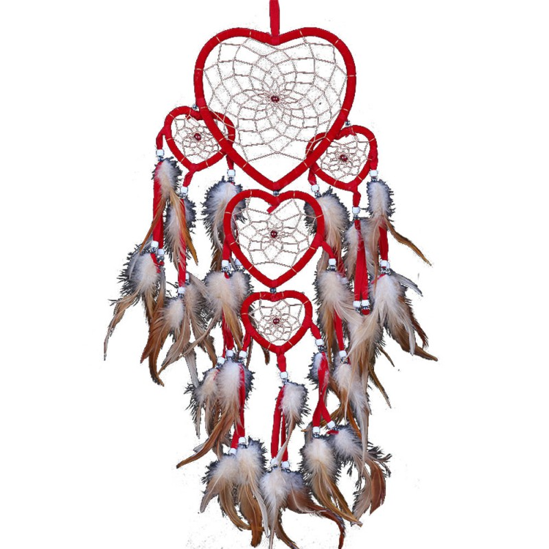 1 pc Heart Dream Catcher Brown Red Wall Hanging With Feather Bead Ornament Decoration