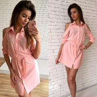 Shirt Dress Women Sexy Mini Dress Cold Shoulder Women Dress Bandage Turn Down Collar Slim Button