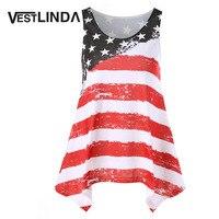 Vestlinda американский флаг майка Повседневное blusas Полосатая майка Mujeres Женская одежда feminino бретели Танк Лето 2017 г. Топы корректирующие