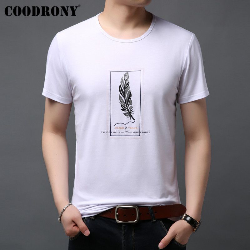 COODRONY leaves Painting T Shirt Men Short Sleeve T-Shirt Summer Casual Cotton O-Neck Tee Homme Mens T-Shirts S95051