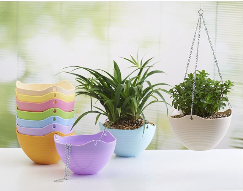 Hanging Flower Pot Chain Plastic Flower Pots Planter Basket Decor ...