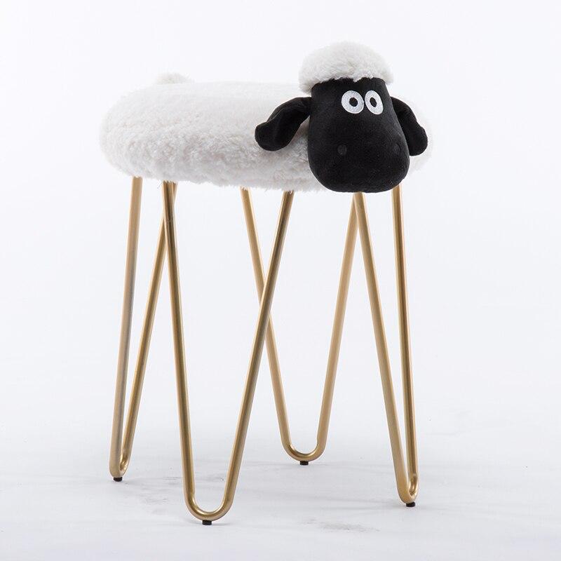 Muebles De Madera métal fer Art maquillage tabouret agneau nettoyage et lavage nordique Designer meubles toilette ongle boutique bas