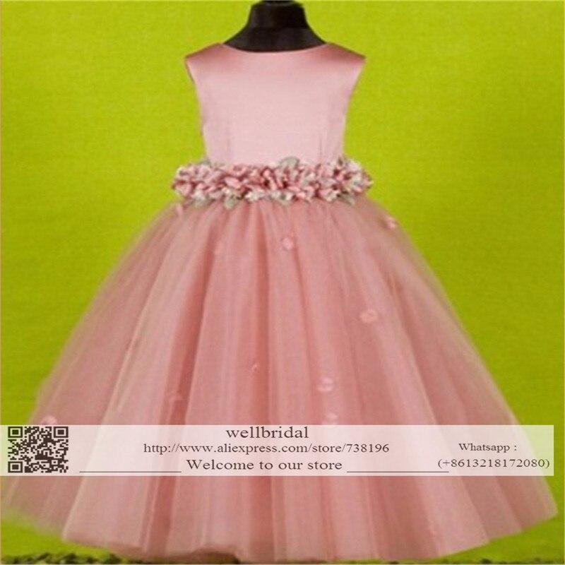 2016 A-Line Baby Pageant Column Floor Length Pink Flowers Tulle Flower Girl Dresses Baby Girl Tutu Dress