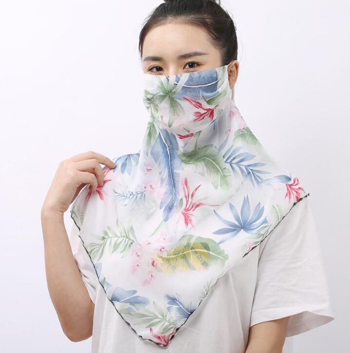 Women's Spring Summer Flower Print Thin Chiffon Mask Female PM 2.5 Breathable Summer Sunscreen Big Mouth-muffle R1140