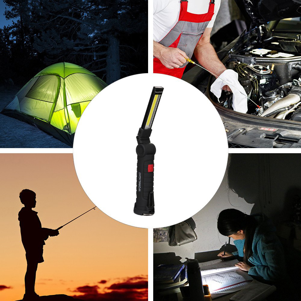 Купить с кэшбэком Mini LED Flashlight Strong Magnet Folding Camping Lamp USB Rechargeable Flashlight Outdoor Fishing hiking torch home night light
