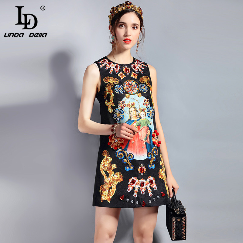 2e896c15a6bb8 Sleeveless Luxury Crystal Beading Jacquard Print Straogjt Vintage Dress