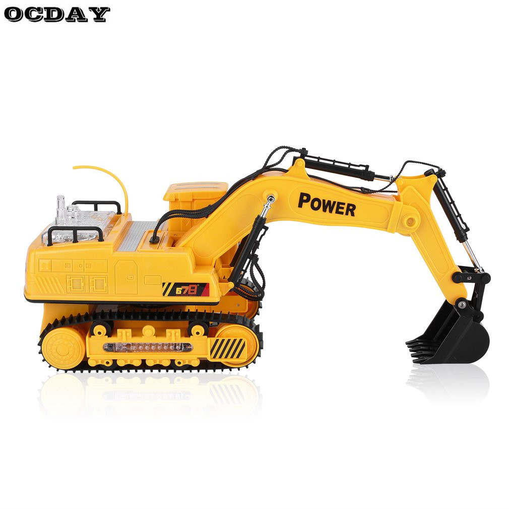 OCDAY Electric RC Excavator Engineering Trucks Vehicle Toy Auto Demo Remote Control Truck Construction Car Toys For Children original barbie dolls skipper dolphin magic adventure doll with clothin babies boneca brinquedos toys for children birthday gift