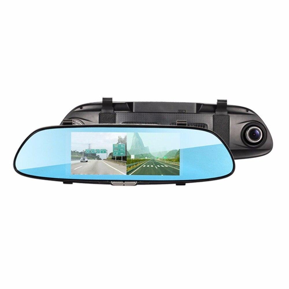 Новый 7-дюймовый Экран дисплея 1080 P HD Двойной объектив автомобиля Зеркало заднего вида 1 ГБ + 16 ГБ Портативный Камера Регистраторы Видеорегис...