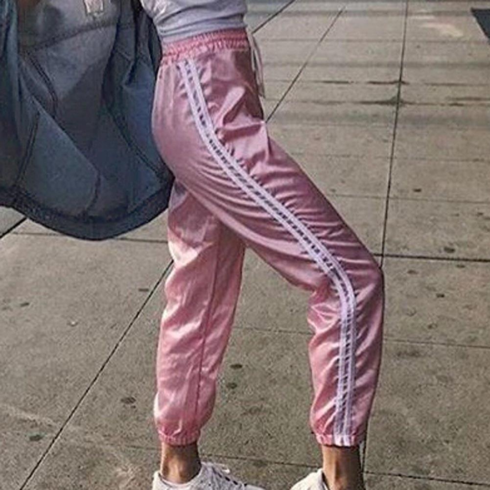 HTB1oHV7QFXXXXajapXXq6xXFXXXz - Woman Joggers New Korean Harajuku Striped Pants JKP210