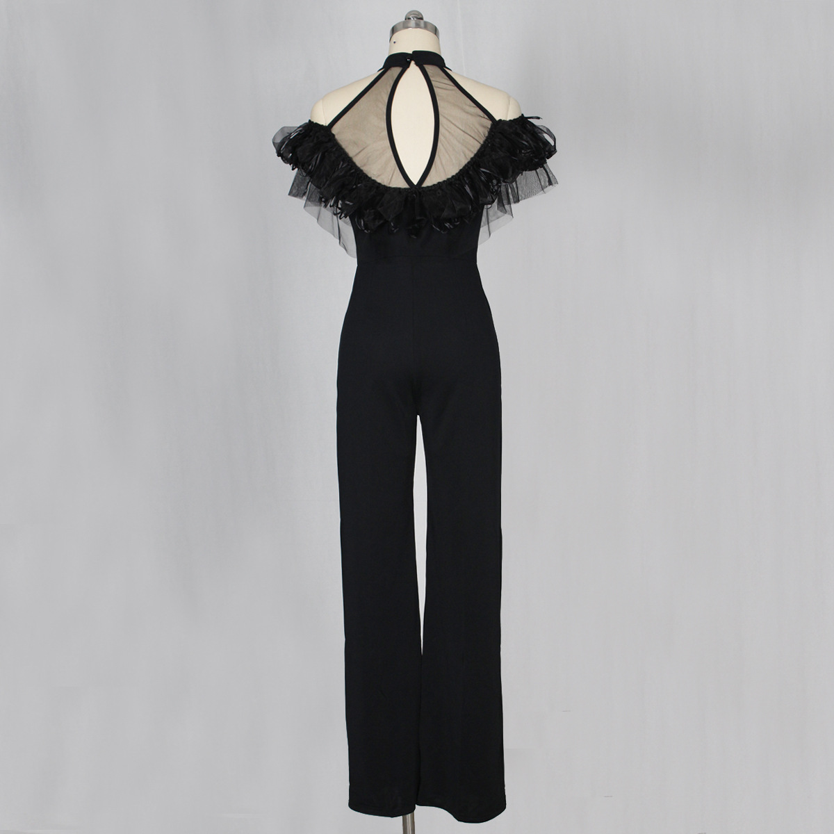 IMYSEN Summer Autumn Fashion Lace Mesh Jumpsuit Halter Solid Black Women Romper Paige One Piece Sexy Rompers New Arrival