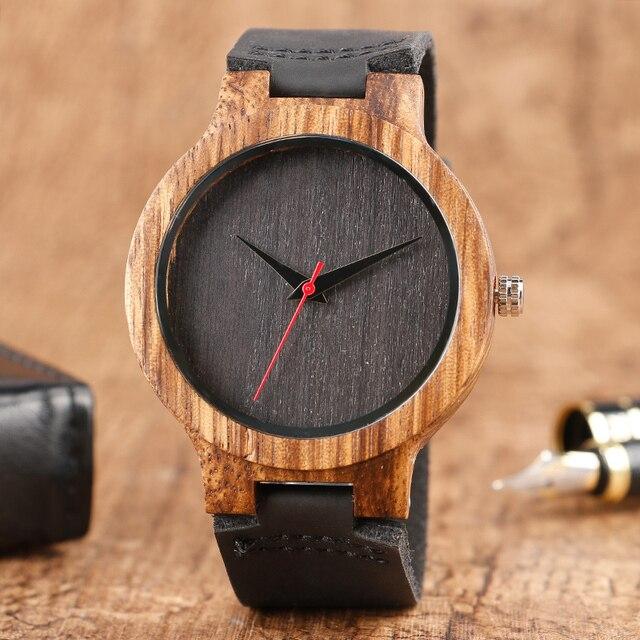 0a7304d8383 Relógios 2017 Hot Relógio de Quartzo de Couro Minimalista de madeira  Natureza Bambu Presente relogio masculino