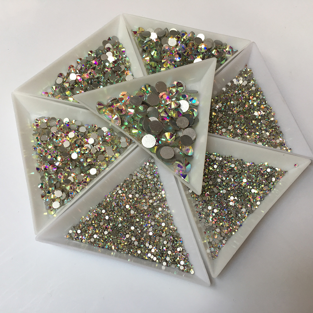 Image 5 - Super Glitter SS3 SS30 1440pcs Crystal AB Flat Back Nail Rhinestone 3D Non HotFix Nail Art Decoration Glass Manicure Accessories-in Rhinestones & Decorations from Beauty & Health