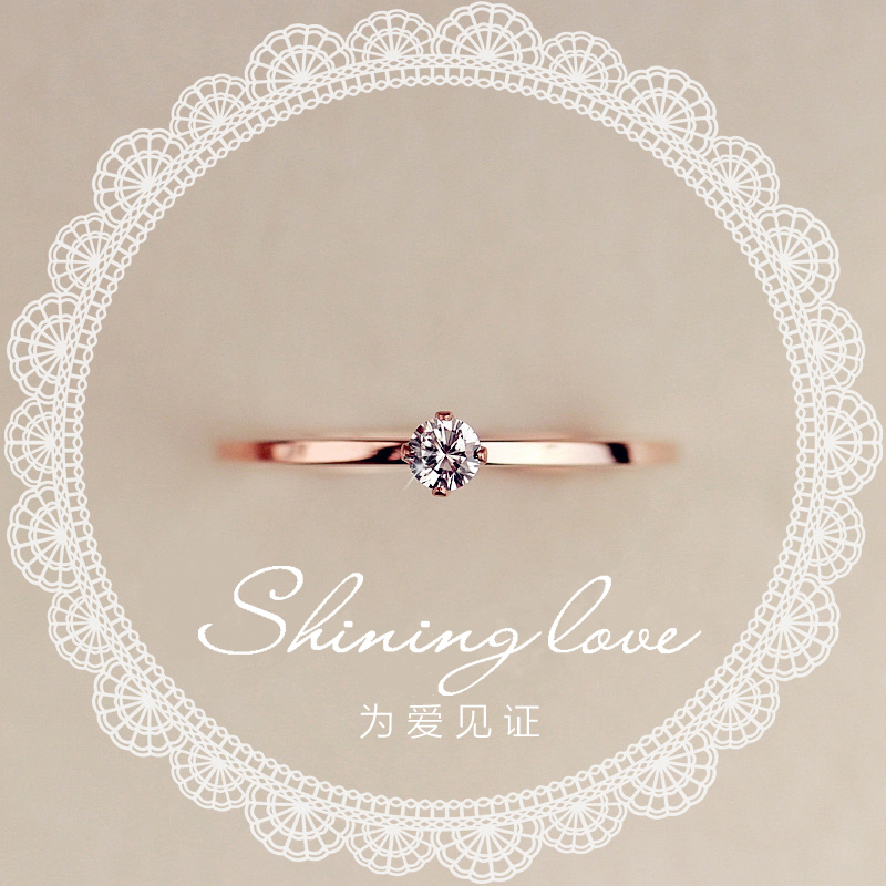 Fine Jewelry Titanuim Steel Rose Gold Color Ring CZ Crystal Ring For Women Couple Finger Rings love Wedding  Size3-9 R101