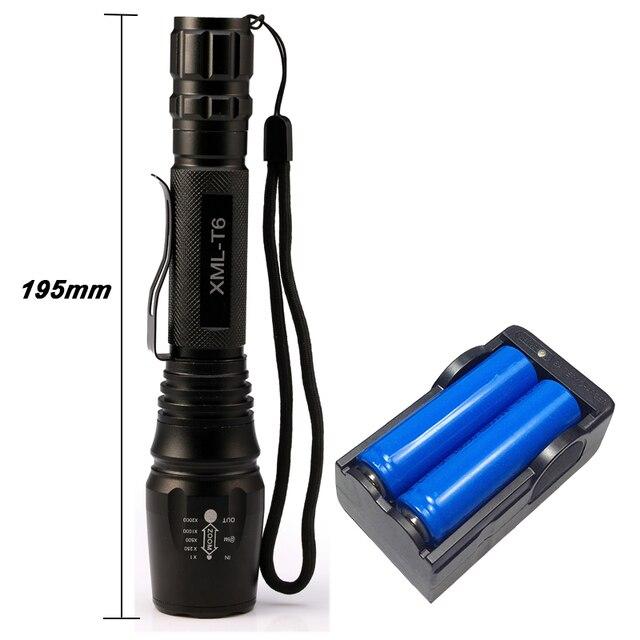 8000 Люмен Фонарик CREE XM-L T6 LED Свет Масштабируемые Фокус Фонарик Факел Наружного Освещения + 2*18650 Батарея + зарядное устройство