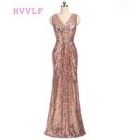 Champagne 2018 Cheap Bridesmaid Dresses Under 50 A Line V Neck Floor Length Sequins Sparkle Backless