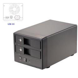 3.5 المزدوج خليج USB3.0/eSATA الألومنيوم حالة 3.5 بوصة SATA III الساخن swappble القرص الصلب قالب أقراص صلبة خارجية مع UASP/RAID