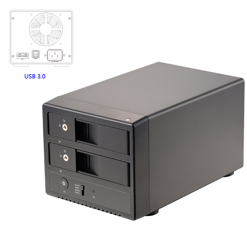 3.5 Dual-bay USB3.0/eSATA Aluminum Case 3.5-inch SATA III Hot-swappble Hard Drive External Hdd Enclosure With UASP/RAID