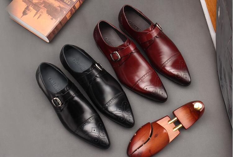 Carved brogue dress shoes men slip on buckle strap smart casual shoes pointed toes genuine leather vintage wedding oxfords цена и фото