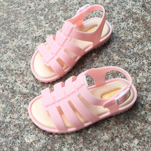 2019 Summer Roman Shoes Candy Color Girls Sandals Kids Jelly Soft Insole PVC Shoe Flat-on Soft Bottom Non-Slip Shoes for Girl(China)