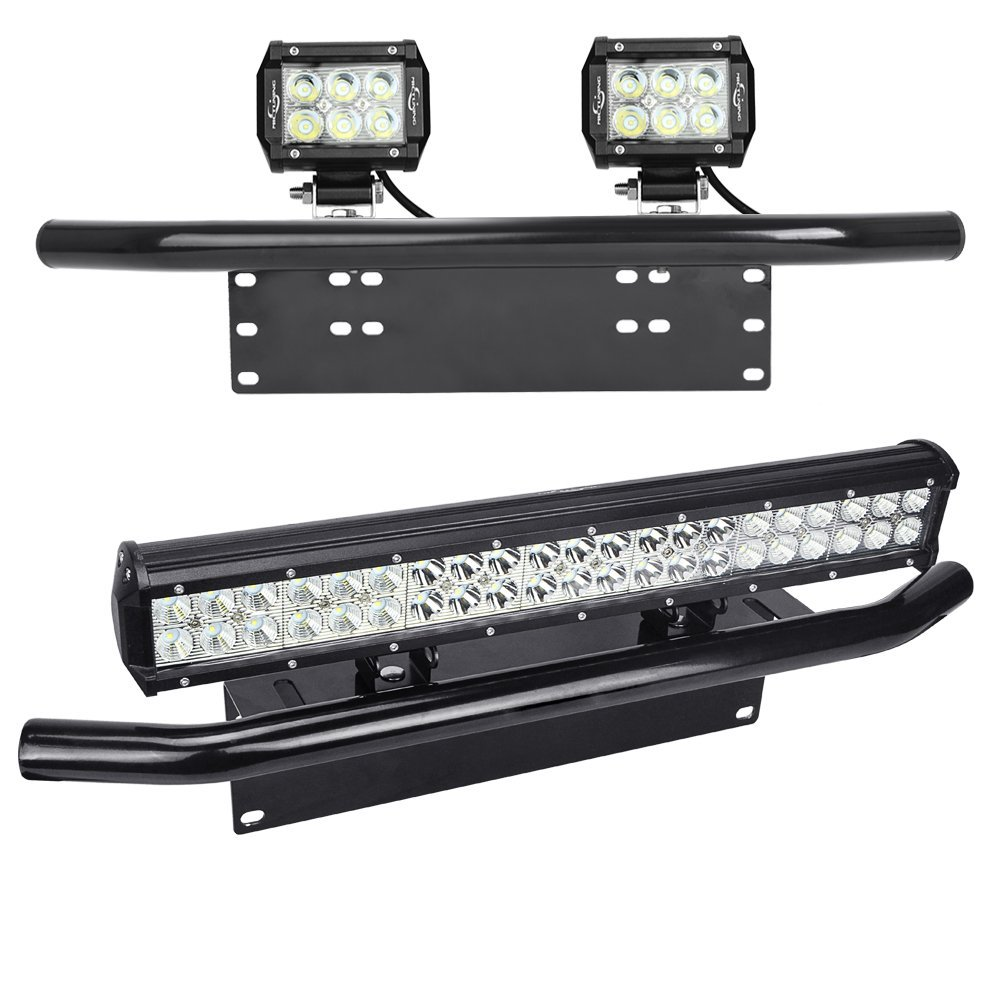 Silver black offroad light led light bar autos bull bar front silver black offroad light led light bar autos bull bar front bumper license plate mount headlight bracket holder for jeep in car light accessories from mozeypictures Images