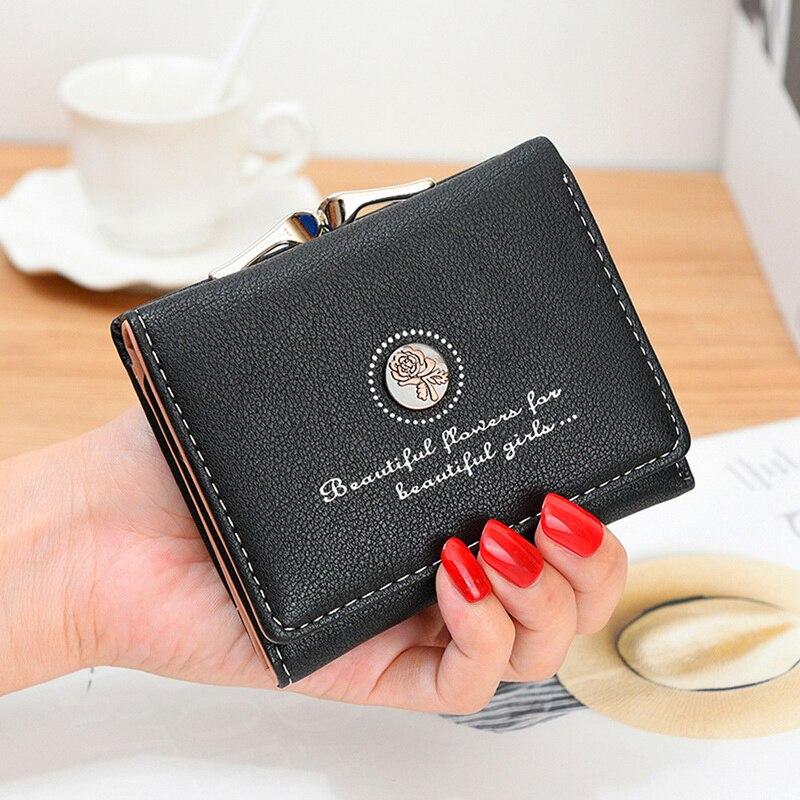 Women Fashion Rose Flower  Female Hand Bag Short Purse Wallet Coin Purse
