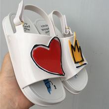 Melissa Crown and Red Heart Mini Sandals 2018 New Summer Rain Shoes Jelly Shoe Girl Non-slip Kids Sandal Toddler