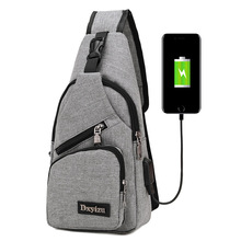 2019 New Arrival Male Shoulder Bags USB Charging Crossbody Bags