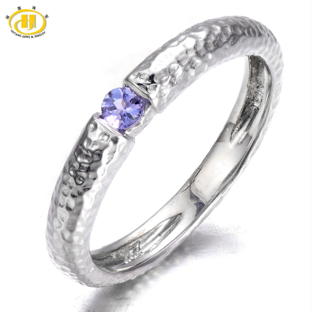 Hutang Genuine Tanzanite Solid 925 Sterling Silver Hammered Band Tail font b Ring b font Fine
