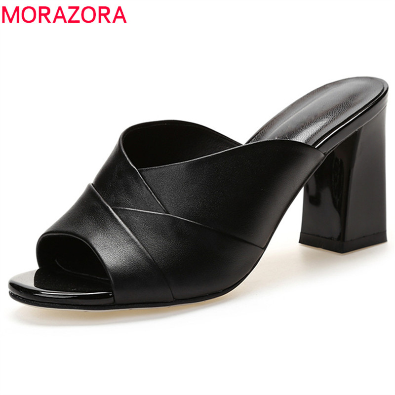 MORAZORA 2018 top quality genuine leather new style woman sandals simple elegant summer shoes 7.5cm square heel ladies shoesMORAZORA 2018 top quality genuine leather new style woman sandals simple elegant summer shoes 7.5cm square heel ladies shoes