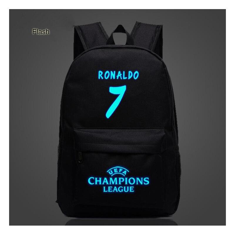 #7 Tasche Ronaldo Backpacking Nacht Flash-hand Ausgabe Outdoor Sport Leinwand Rucksack Große Kapazität Leucht Atmungs Tasche