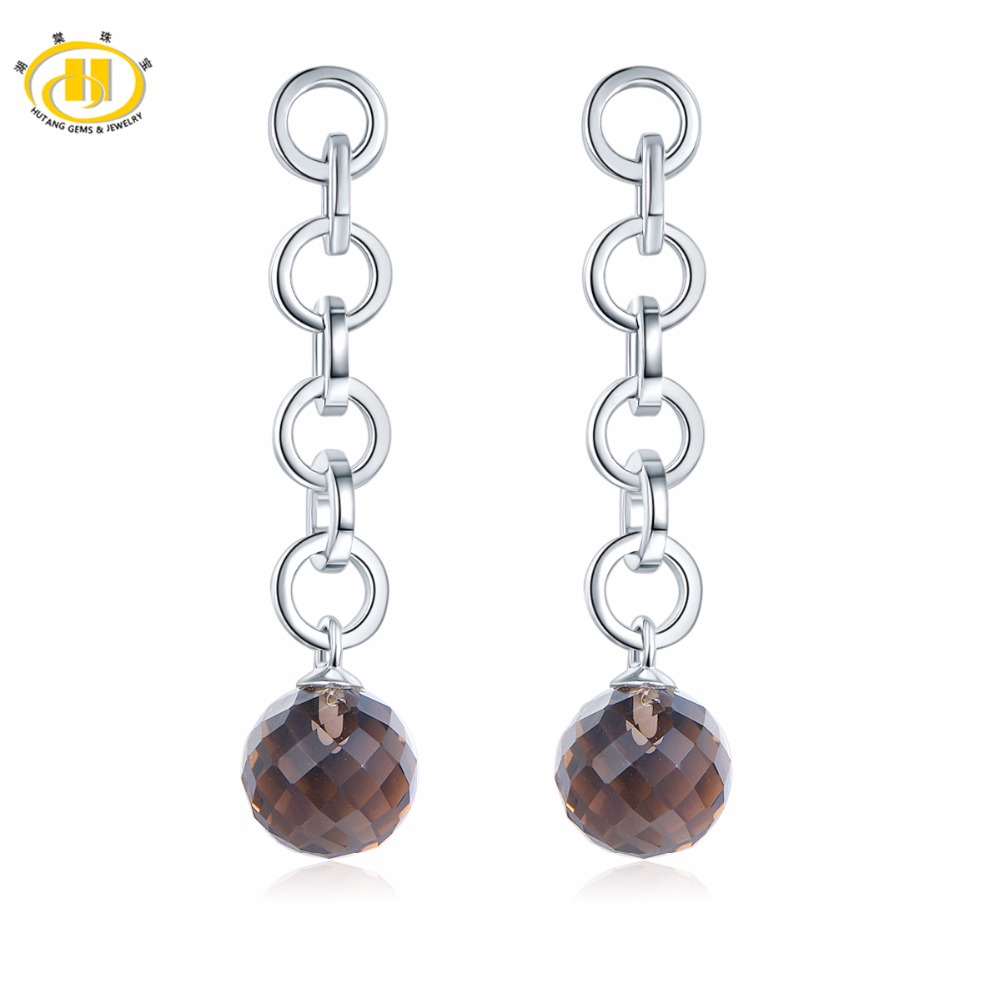Hutang Solid 925 Sterling Silver Natural Gemstone Smoky Quartz Beads Long Dangle Earrings Women s Fine
