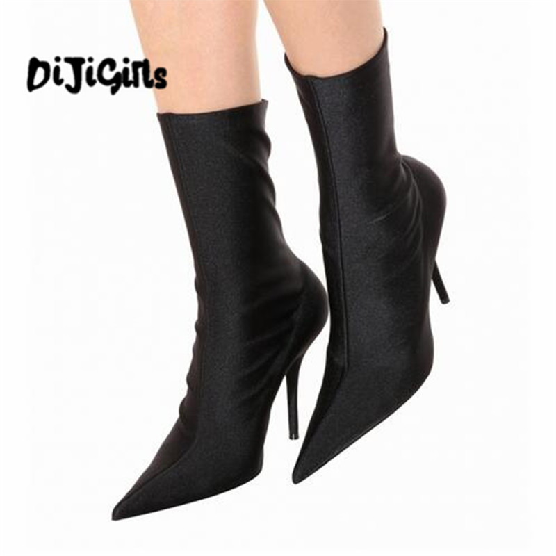 Floral Stretch Fabric Women Sock Boots Pointed Toe Mid-Calf Women Boots Brand Design High Heel Women Boots 44 Size stylish women s mid calf boots with solid color and fringe design