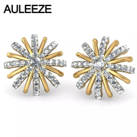 Fairy Tales Snow White Solid 14K Two Tone Gold Natural Real Diamond Stud Earrings For Women Snowflake Diamond Engagement Earring