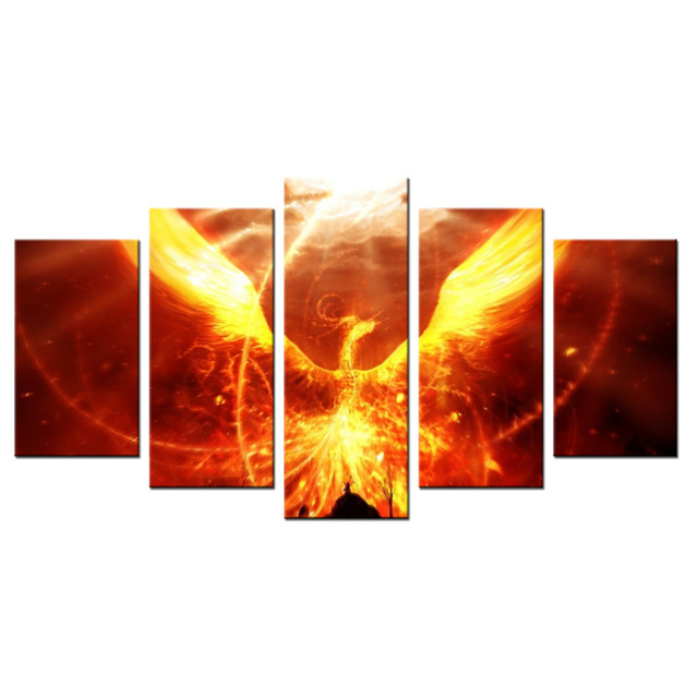 wohnkultur wandkunst heies bad feuer phoenix moderne wand bilder malerei leinwand wohnzimmer dekor abstrakte malerei 5 - Wohnzimmer Feuer