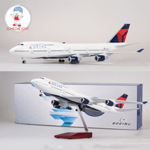 47cm 1/150 Scale Diecast Airplane Model Boeing 747 Aircraft DELTA 380 Airliner Model With Light and Wheel For Collection цены