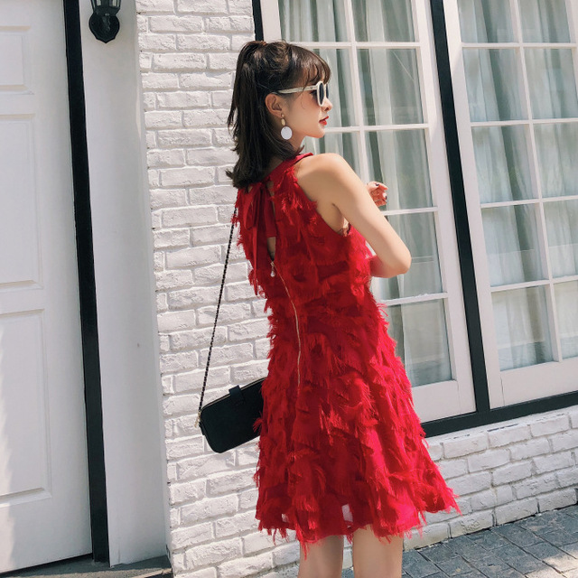 4c18acd6c4 Tailandia marca tridimensional pluma espalda descubierta sin mangas vestido  rojo para fiesta